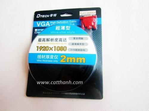 CÁP VGA 1.8 M MỎNG DẸT DTECH DT-69F18