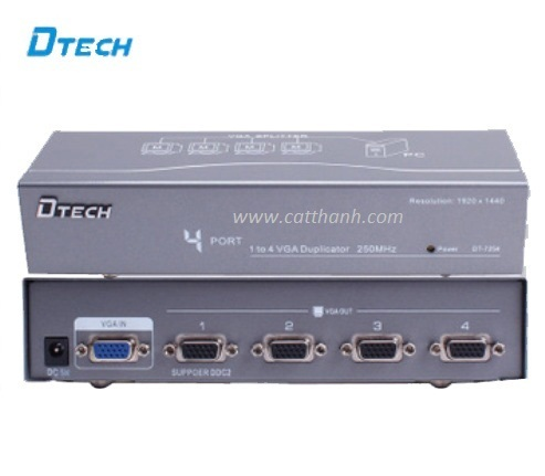 Bộ chia VGA 1 máy tính ra 4 màn hình hiệu Dtech DT-7254