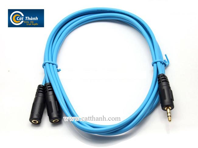 Cáp chia 2 cổng Audio 3.5mm 1.5m Dtech DT-6225