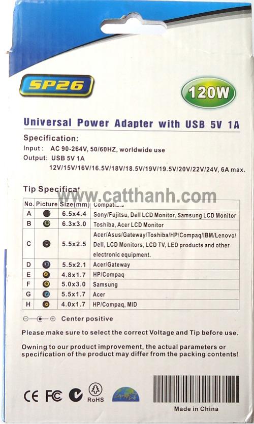 Sạc đa năng dùng cho laptop điện thoại SP26