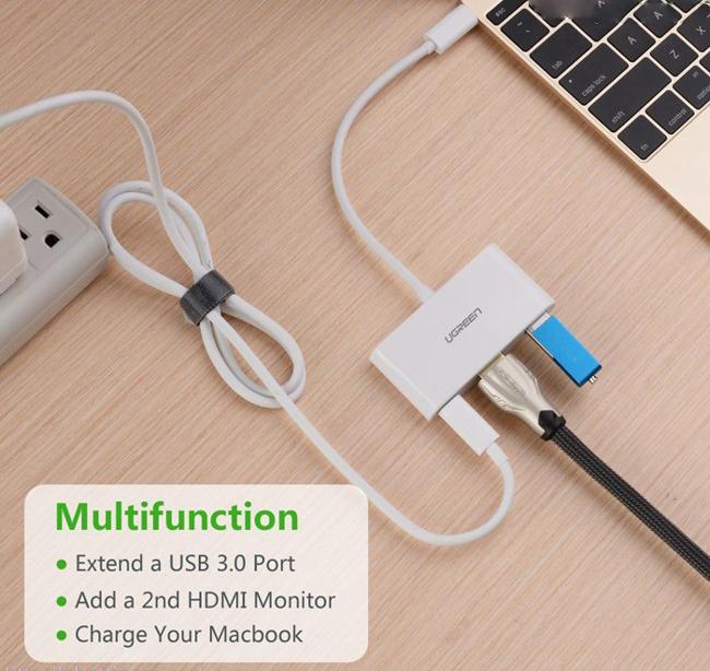 Cáp chuyển USB Type C sang USB và HDMI Ugreen UG-30377
