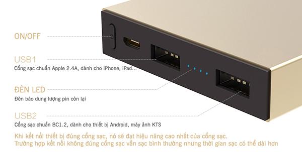 Pin sạc dự phòng Rock Stone 10000 mAh RMP0301