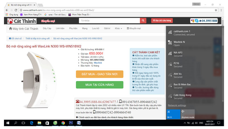 Bộ mở rộng sóng wifi WavLink N300 WS-WN518W2