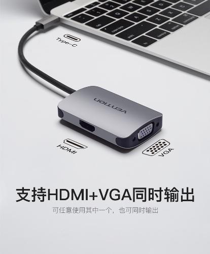 Cáp chuyển đổi Type C sang HDMI, VGA, USB 3.0 Vention